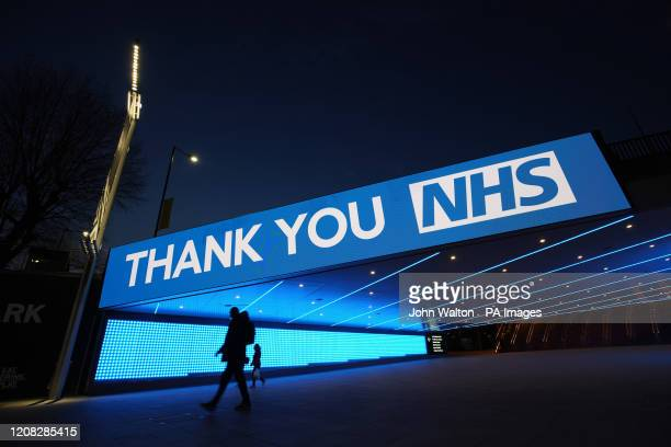 Sign by Wembley Park Tube Station in London that thanks the hardworking NHS staff who are trying to battle coronavirus. A national salute for the...