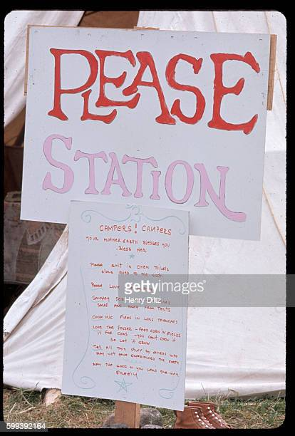 A sign called the 'Please Station' spells out the rules for a hippie commune in Woodstock New York