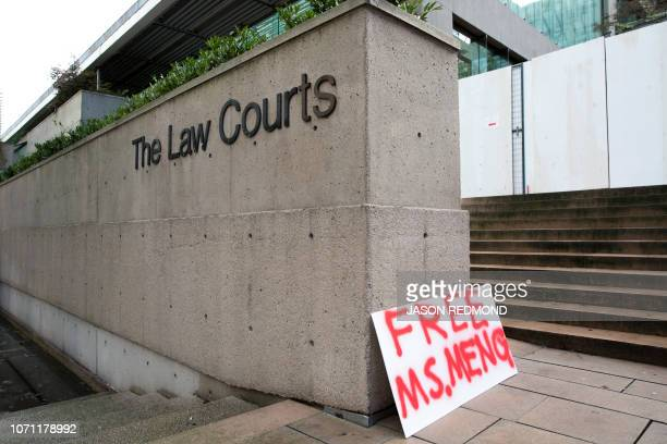A sign calling for the release of Huawei Technologies Chief Financial Officer Meng Wanzhou is seen outside at British Columbia Superior Courts...
