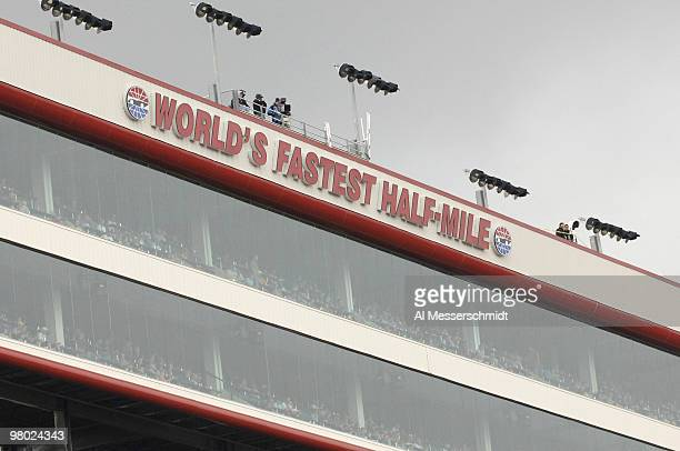 A sign calls the raceway The World's Fastest HalfMile during the Sharpie Mini 300 Busch Series race at Bristol Motor Speedway in Bristol Tennessee on...