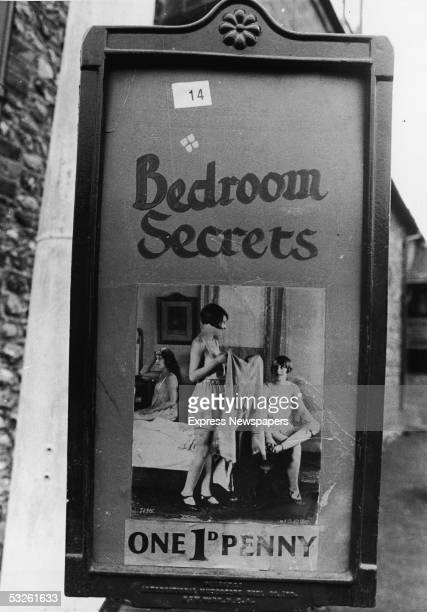 Sign card for a mutoscope peep show presentation of the International Mutoscope Reel Company production 'Bedroom Secrets,' United Kingdom, late...