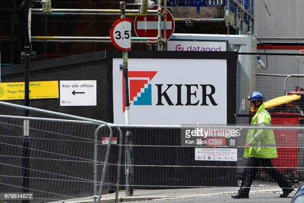 A sign carrying the logo of Kier Construction the main contractor for the restoration works under way at the Glasgow School of Art Mackintosh...