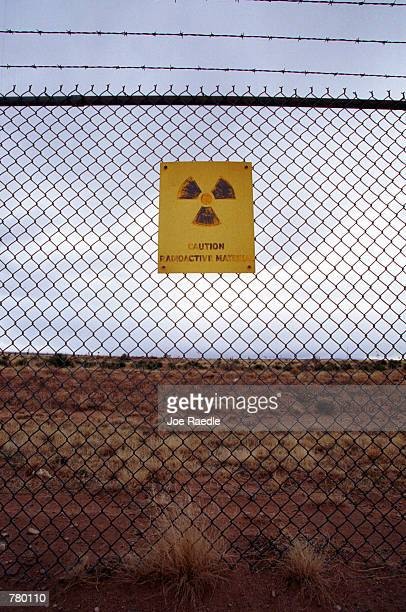 A sign cautions visitors to the Trinity Site where the first atomic bomb was tested at 52945 am Mountain War Time on July 16 1945 on the White Sands...