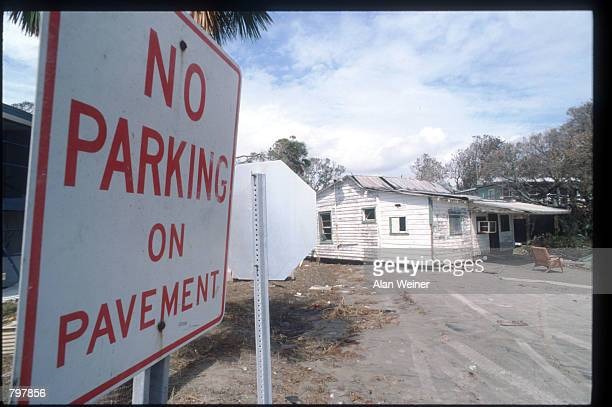 A sign commands 'No Parking On Pavement' September 27 1989 in South Carolina Hugo is ranked as the eleventh most intense hurricane to strike the US...