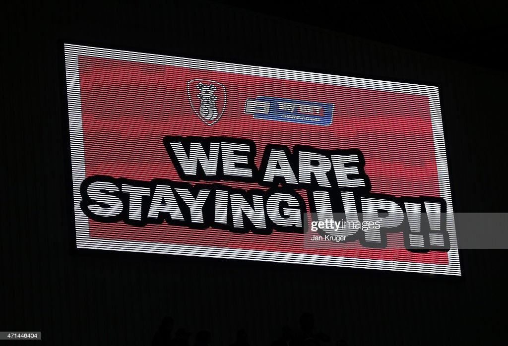 A sign confirming the outcome is displayed after the final whistle during the Sky Bet Championship match between Rotherham United and Reading at The New York Stadium on April 28, 2015 in Rotherham, England.