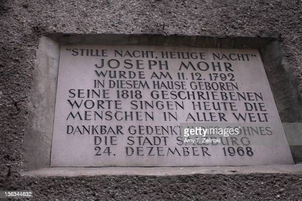 A sign dedicated to the Salzburg born Austrian priest and composer Joseph Mohr at his birthplace in Salzburg Austria 6th March 2011 Mohr is best...