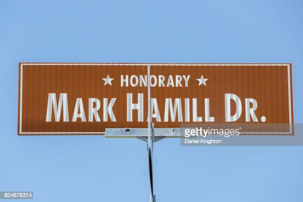 A sign dedicating Mark Hamill Drive was dedicated on July 30 2017 in San Diego California