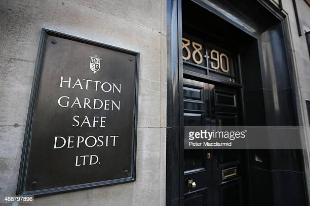 Sign denotes a Hatton Garden safe deposit centre on April 7, 2015 in London, England. Police are investigating a break in that occured over the...