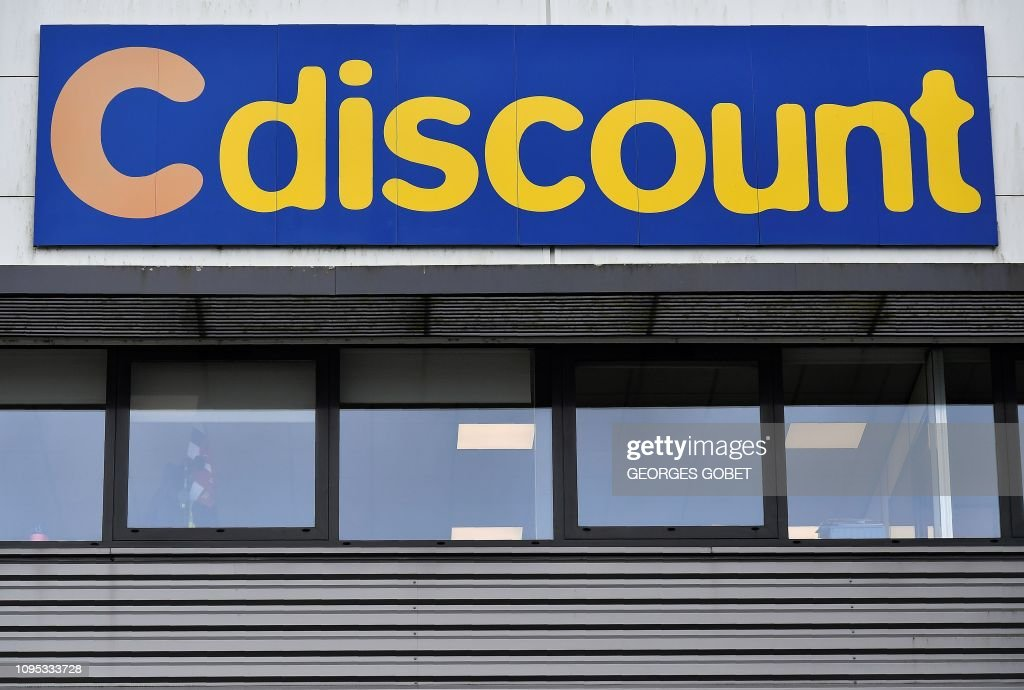 A sign denotes the French Cdiscount discount online retailer's ware