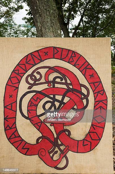 Sign depicting ancient Viking symbol at Birka autumn market.