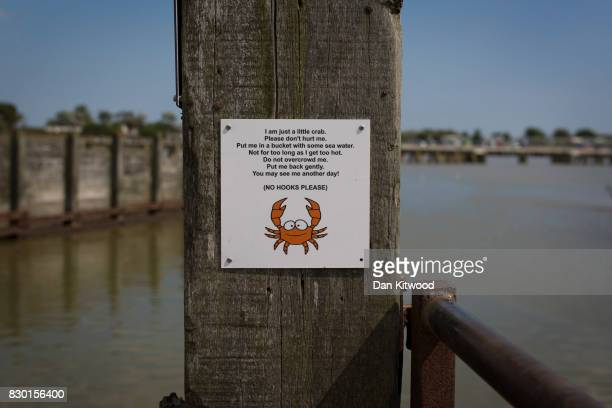 A sign detailing 'Crabbing' etiquette on August 11 2017 in Walberswick England Much of the country is expected to enjoy a sunny spell over the...