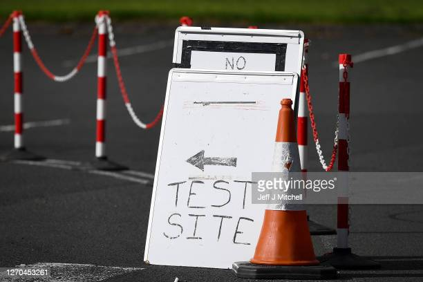 A sign directed people to a coronavirus mobile testing centre in West Dunbartonshire on September 3 2020 in Dumbarton Scotland Starting last night...