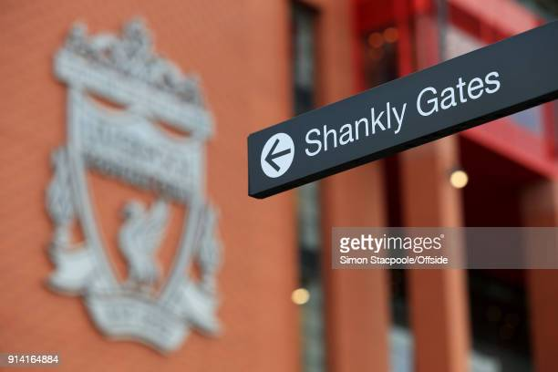 A sign directing people to the Shankly Gates is seen before the Premier League match between Liverpool and Tottenham Hotspur at Anfield on February 4...