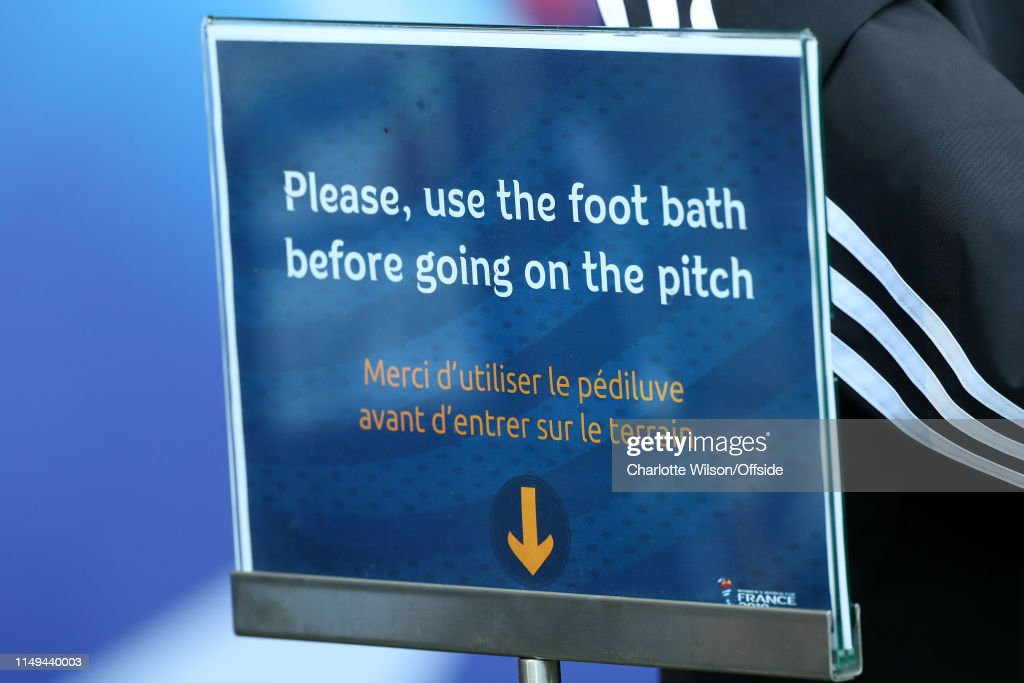 A Sign Directing Players To Use The Foot Bath Ahead Of The 2019 Fifa News Photo Getty Images