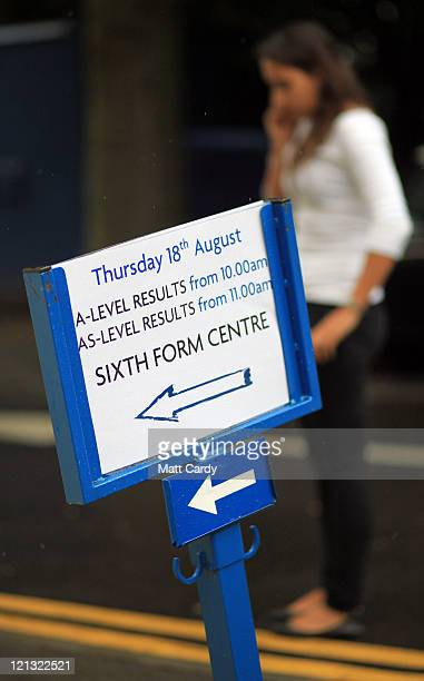 A sign directs Badminton School sixth form pupils to collect their results on August 18 2011 in Bristol England With another record year for Alevel...
