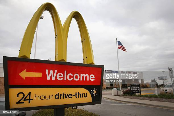 Sign directs customers to the drive-thru at a McDonald's restaurant on October 24, 2013 in Des Plaines, Illinois. McDonald's has announced it will...