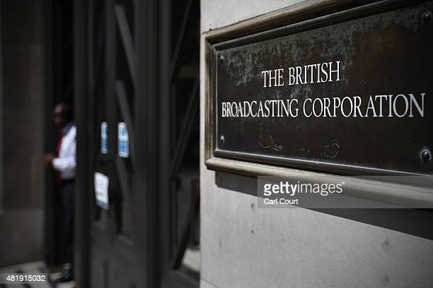 A sign directs to Broadcasting House the headquarters of the BBC on July 25 2015 in London England The main Art Decostyle building of the British...
