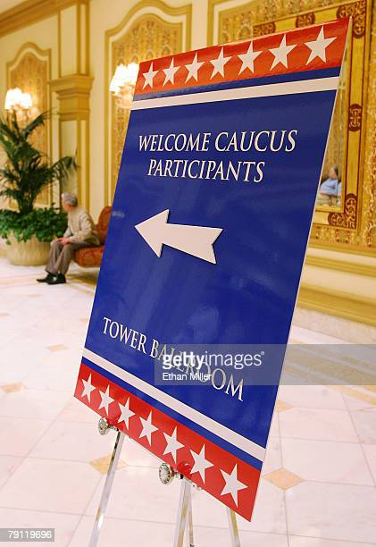 A sign directs workers to a caucus site at the Bellagio January 19 2008 in Las Vegas Nevada The Bellagio is one of the nine hotelcasinos being used...
