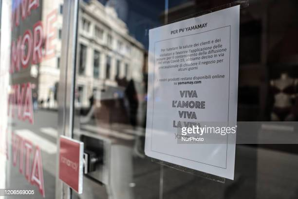 Sign displayed in the shop window indicates closure due to the Coronavirus emergency, on March 11 in Rome, Italy. The Italian government has imposed...