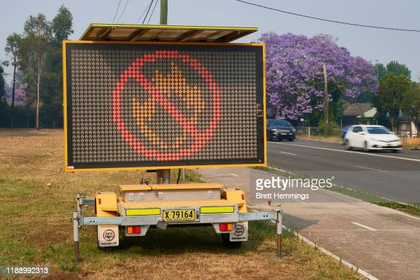 """Sign displaying a """"No Fires"""" symbol on November 21, 2019 in Penrith, Australia. Most of NSW remains under severe or very high fire danger warnings as..."""