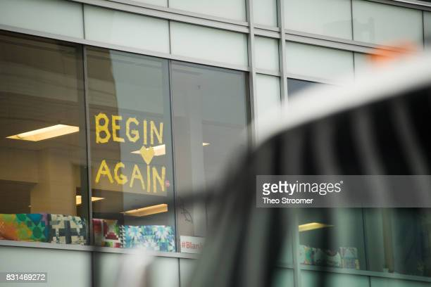 A sign displaying a Taylor Swift lyric across the street from court following the verdict in the civil case of Taylor Swift vs David Mueller at the...