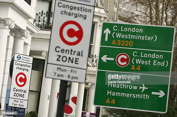 A sign displaying the congestion zone charging zone is pictured April 4 2008 in London England New York City Mayor Michael Bloomberg is looking to...