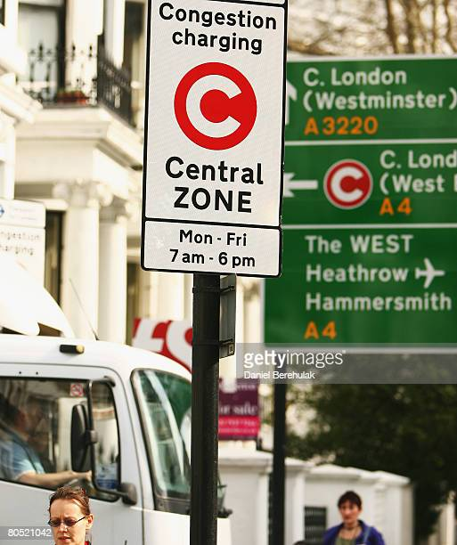 A sign displaying the congestion zone charging zone is pictured on April 4 2008 in London England New York City Mayor Michael Bloomberg is looking to...