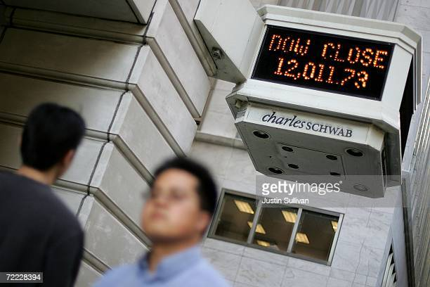 A sign displaying the Dow Jones closing number over 12000 is seen at a Charles Schwab office October 19 2006 in San Francisco The Dow passed 12000...