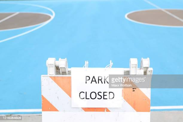 A sign displaying the park is closed is seen at Berniece Bennett Park to prevent people from gathering on March 31 2020 in Westlake Village...