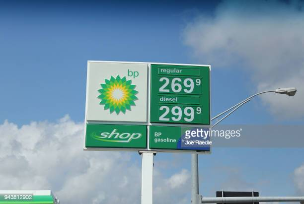 A sign displaying the price of gasoline per gallon is seen at a BP gas station as reports indicate that the price of gas continues to rise on April 9...