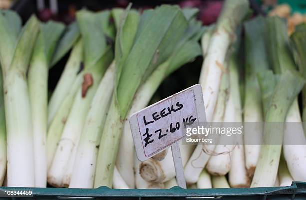 A sign displaying the price of leeks is seen at a farmer's market in London UK on Wednesday Jan 26 2010 Rising food costs threaten economic growth...
