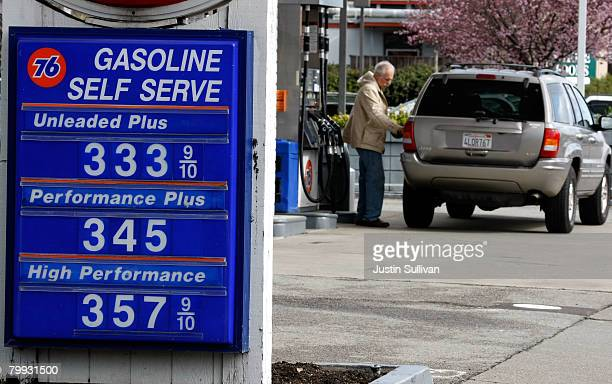 Sign displays gasoline prices well over $3.00 per gallon at a Union 76 gas station February 22, 2008 in San Rafael, California. Gas prices surged to...