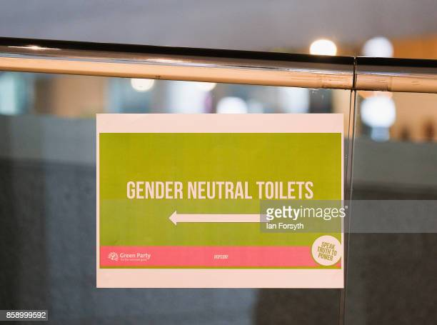 A sign displays gender neutral toilets provided for the first time at the Green Party conference on October 8 2017 in Harrogate England The Green...