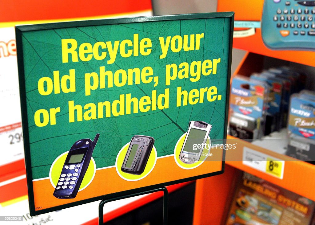 A sign displays recyclable items at an 'e-waste' drop-off location inside a Staples store September 29, 2005 in Mount Prospect, Illinois. Staples is the first large chain store to begin recycling discarded electronic items, including old cell phones, pagers, portable handheld devices and used printer-ink cartridges.