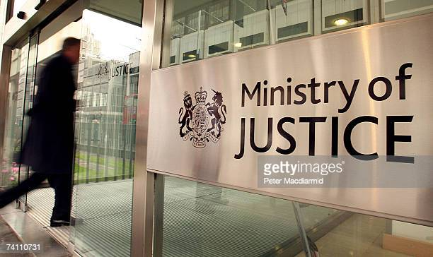 A sign displays the name of the new Ministry of Justice on May 9 2007 in London The new Ministry of Justice will take over responsibility for prisons...