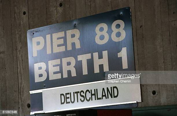 Sign Displays The Pier 88 Where The Ms Deutschland A German Cruise Ship Sits At Bay Awaiting The Ill Faited Passengers Of The Air France Concorde...