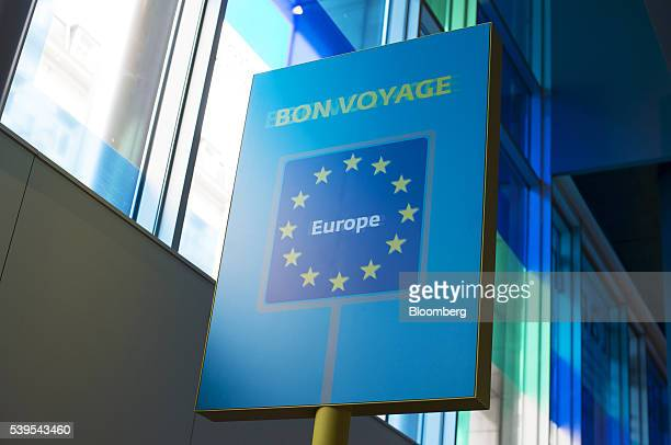 A sign displays the words 'Bon Voyage' and the stars of the European Union at the Parlamentarium the visitor center of the European Parliament in...