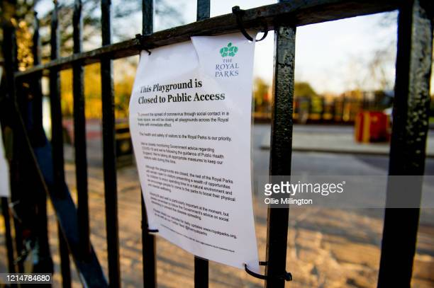 Sign explaining the children's playground is closed due to the contamination risk of Covid-19 on March 25, 2020 in London, United Kingdom. British...