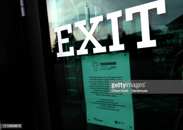 A sign explaining the closure of Twickenham Stadium is seen as rugby in England remains suspended due to Covid19 on March 21 2020 in London England