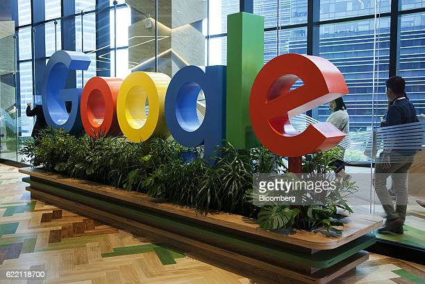 A sign featuring Google Inc's logo stands at the company's AsiaPacific headquarters during its opening day in Singapore on Thursday Nov 10 2016...
