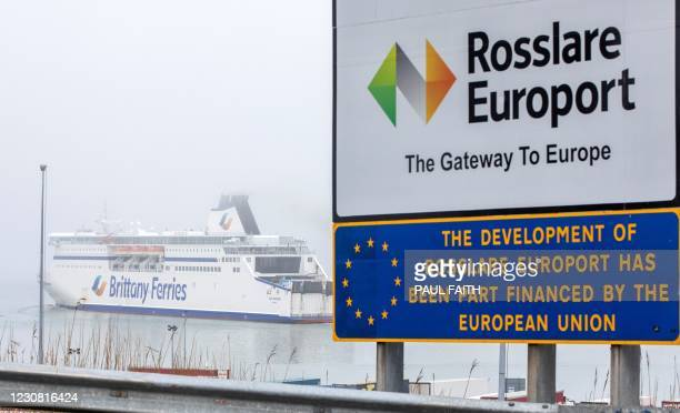 Sign featuring the EU logo is pictures outside the entrance to the Rosslare Europort, as the Brittany Ferries ferry 'Cap Finistere' departs for...