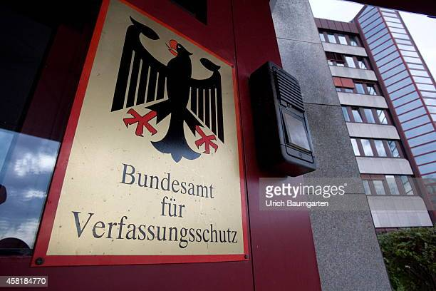 Sign Federal Office for Protection of the Constitution with Federal Eagle in Cologne on October 31 2014 in Cologne Germany