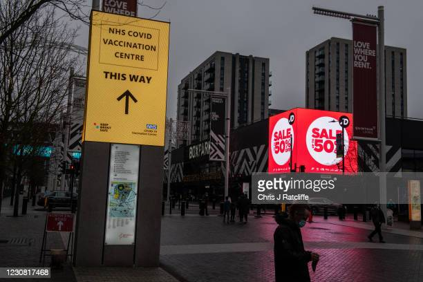 Sign for a Covid-19 vaccination centre near Wembley Stadium on January 27, 2021 in London, United Kingdom. AstraZenecas chief executive has said the...