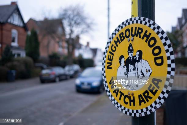 Sign for a neighbourhood watch area in Moseley on 12th february 2021 in Birmingham, United Kingdom. Neighbourhood Watch in the United Kingdom is the...