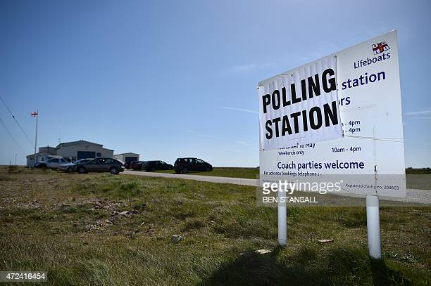 A sign for a polling station at a lifeboat station in Dungeness southern England on May 7 as Britain holds a general election Polls opened today in...