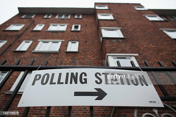 A sign for a polling station in a block of flats in North London as the public votes for the next Mayor of London and in local elections on May 3...