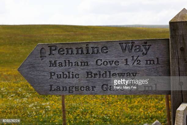 sign for a walking path, Malham Cove, Yorkshire Dales National Park, Yorkshire, England