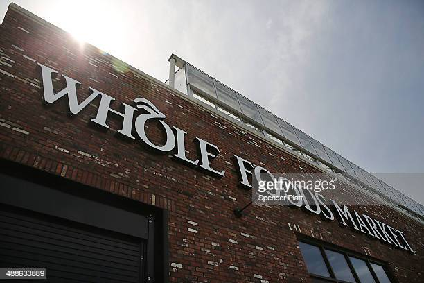 A sign for a Whole Foods Market is viewed in the Brooklyn borough on May 7 2014 in New York City Whole Foods Market an upscale grocery store that...