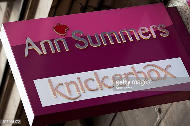 Sign for adult shop Ann Summers and underwear store Knickerbox
