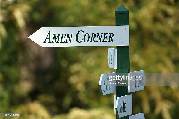 A sign for Amen Corner is seen during a practice round prior to the start of the 2012 Masters Tournament at Augusta National Golf Club on April 4...